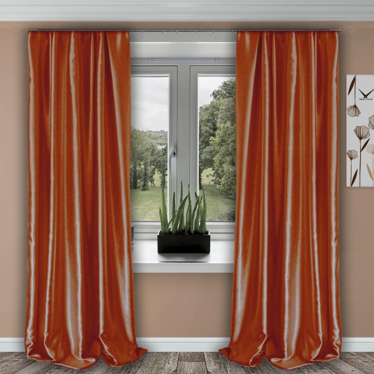 Комплект штор № 011, (270*150)х2, оранжевый (возможно дополнительное комплектование занавеской из вуали артикул № 3-02 оранжевый)