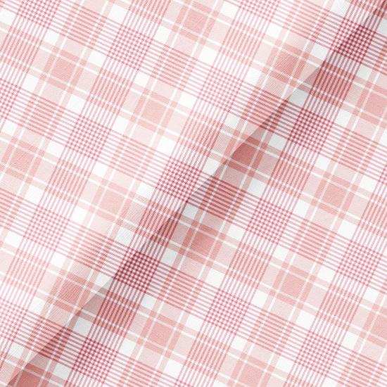 Хлопок Перкаль - Нежно-розовая косая клетка 50х37