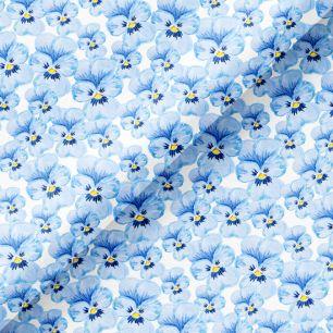 Хлопок Перкаль - Голубые анютины глазки 50х37