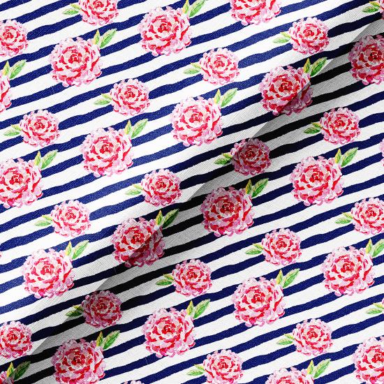 Хлопок Перкаль - Розовые цветы на сине-белом фоне 50х37