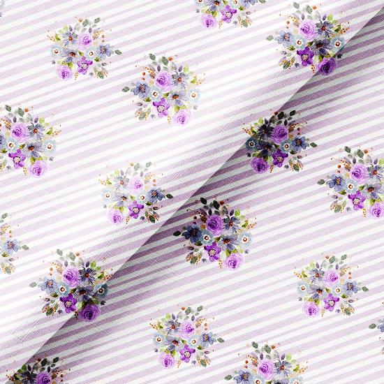 Хлопок Перкаль - Сиреневые букеты на лиловой полоске 50х37