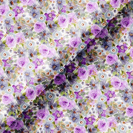 Хлопок Перкаль - Фиолетово-сиреневые цветы 50х37