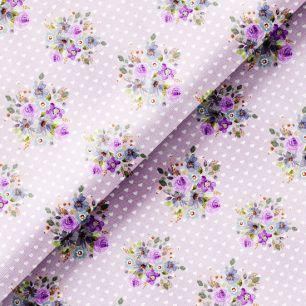 Хлопок Перкаль - Сиреневые букеты и белые сердечки на лиловом 50х37