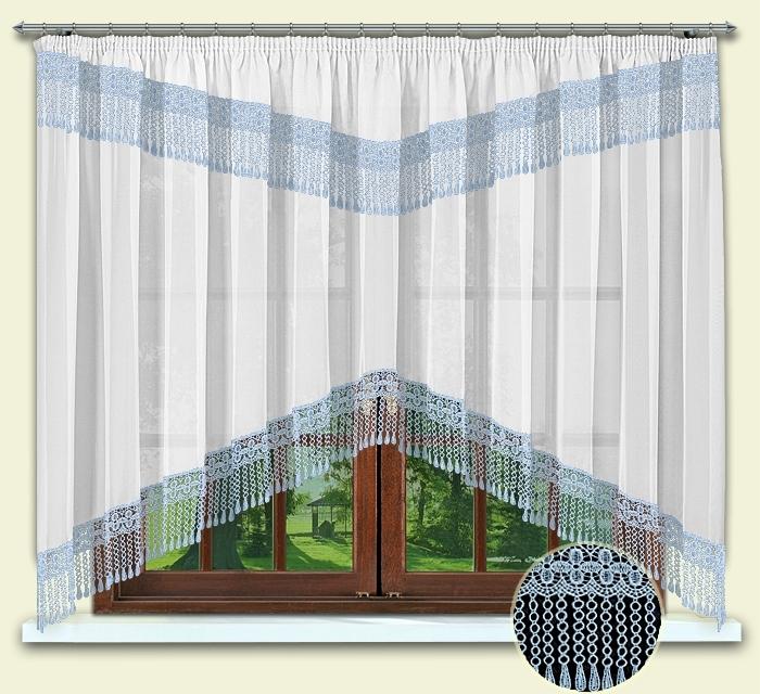 Комплект штор № 012, 160*300 с гипюром голуб.