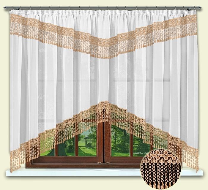 Комплект штор № 012, 160*300 с гипюром персик