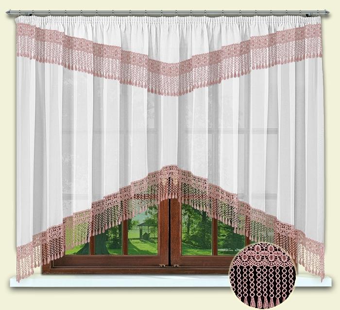 Комплект штор № 012, 160*300 с гипюром розовый