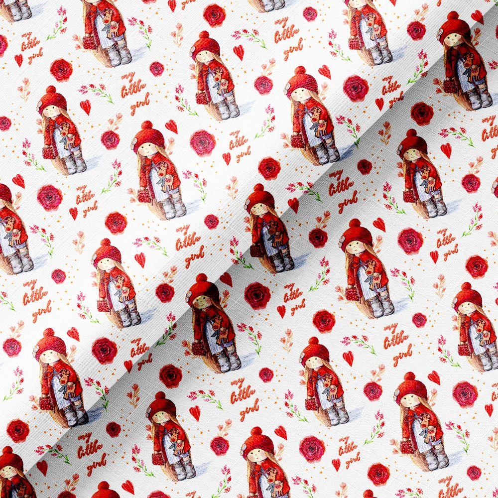 Хлопок Перкаль - Куколки в красном 50х37