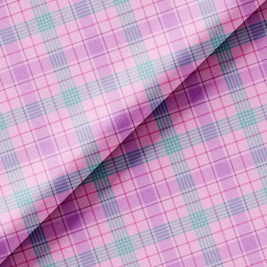 Хлопок Перкаль - Лилово-розовая клетка 50х37