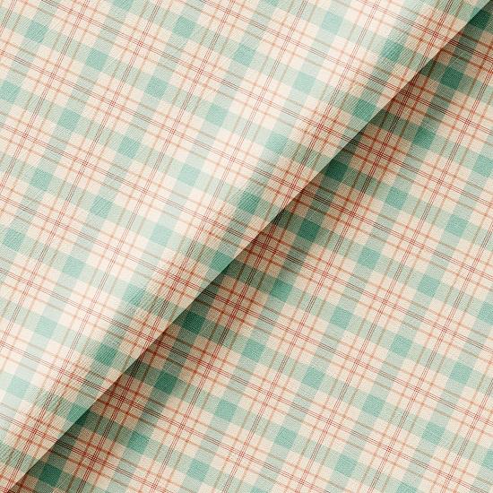 Хлопок Перкаль - Персиково-мятная клетка 50х37
