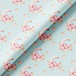 Хлопок Перкаль - Спящие розовые единороги на голубом 50х37