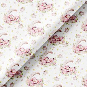 Хлопок Перкаль - Спящие розовые единороги на белом 50х37