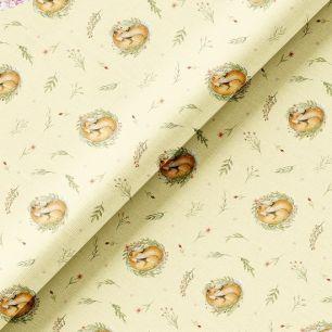 Хлопок Перкаль - Спящие лисы 50х37