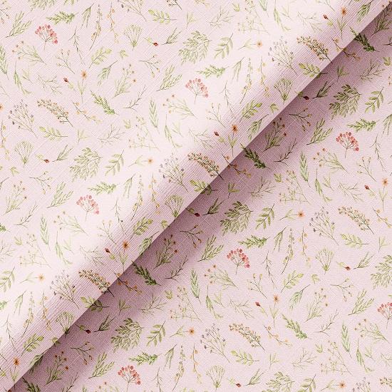 Хлопок Перкаль - Акварельные травы на розовом 50х37