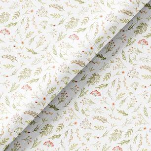 Хлопок Перкаль - Акварельные травы на белом 50х37