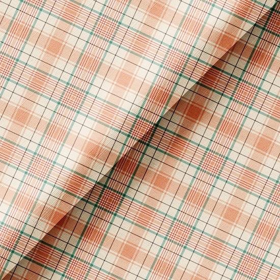 Хлопок Перкаль - Розово-голубая косая клетка 50х37