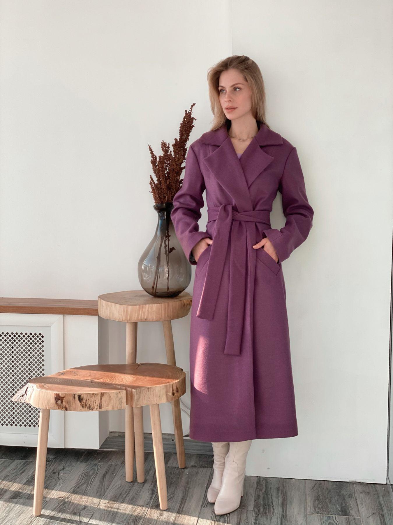 s3707 Классическое удлинённое однобортное пальто в цвете lupine