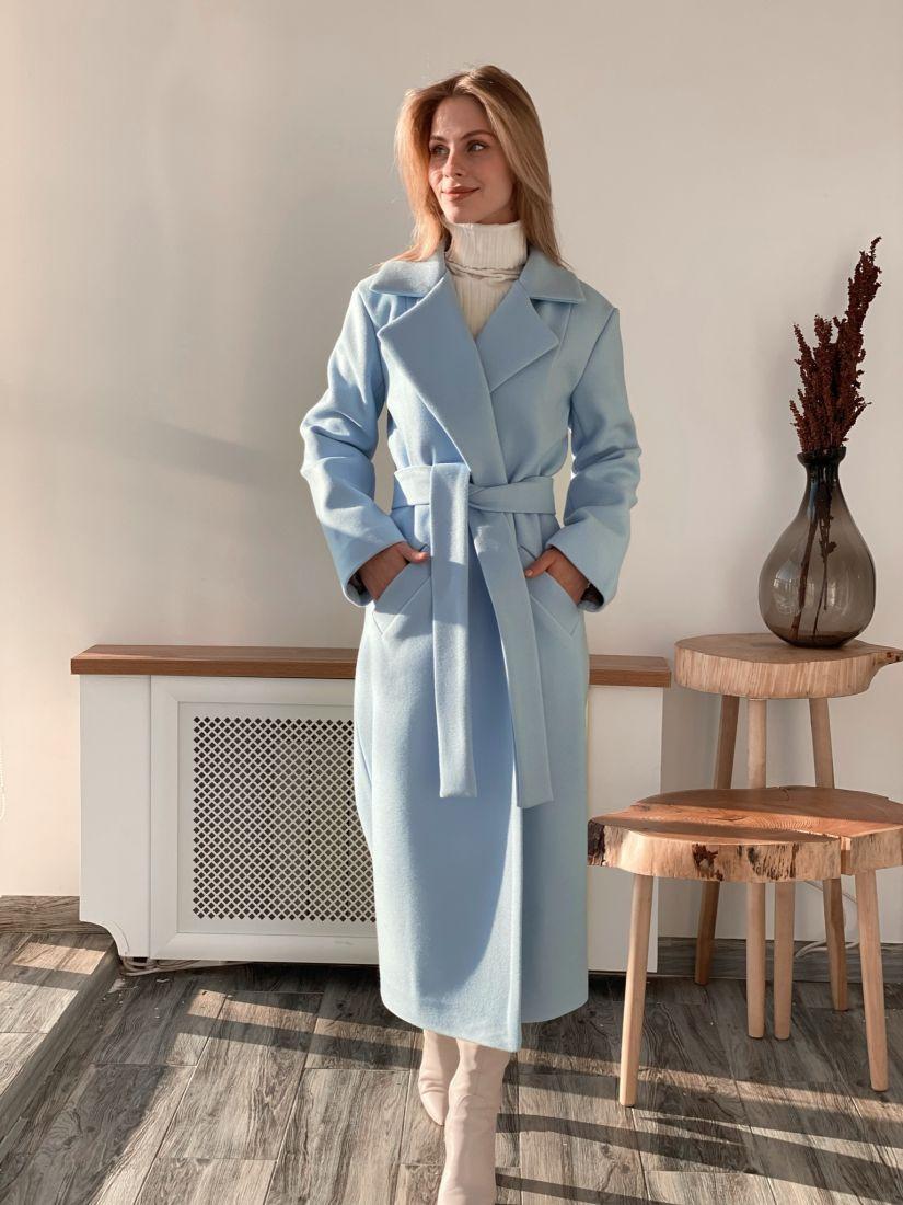 s3708 Классическое удлинённое однобортное пальто небесно-голубое