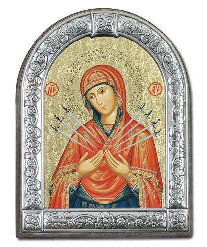 """Икона Божией Матери """"Семистрельная"""" (Греция, 13х10 см.)"""