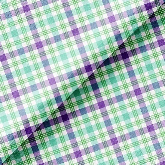 Хлопок Перкаль - Мятно-фиолетовая клетка 50х37