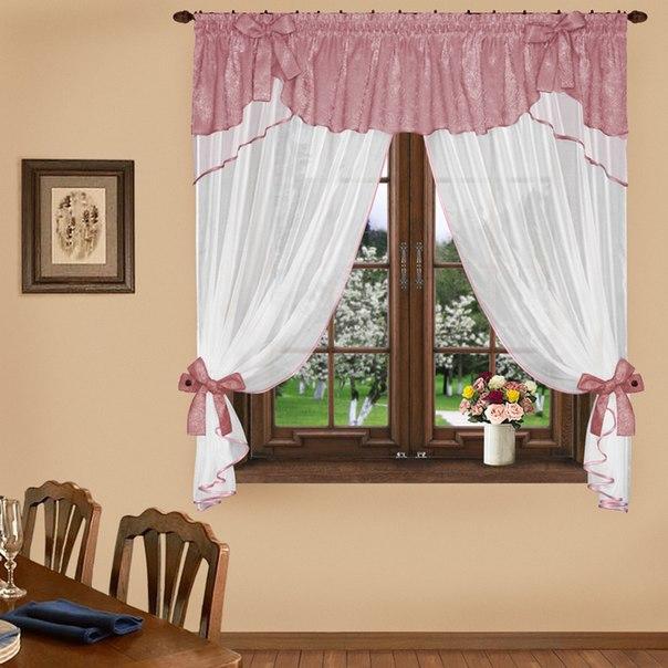 Комплект штор № 041, 160*300 брусника/белый