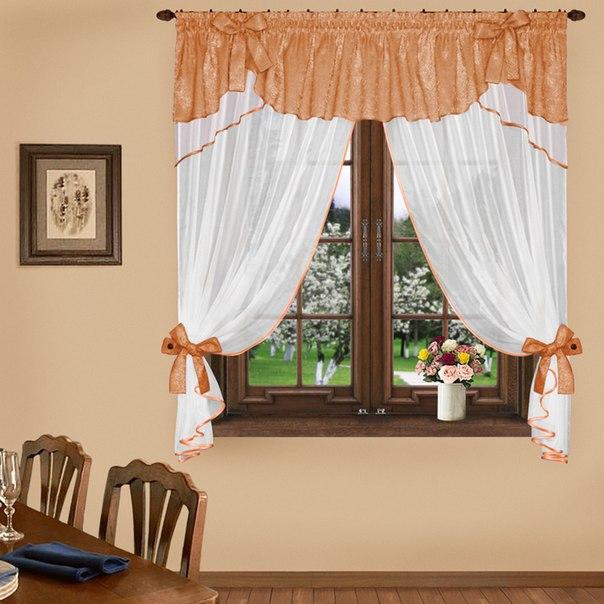 Комплект штор № 041, 160*300 яркий персик/белый