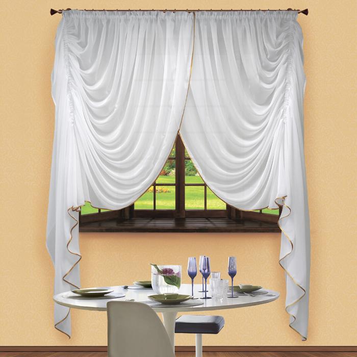 Комплект штор № 042, 250х400, вуаль( белый)