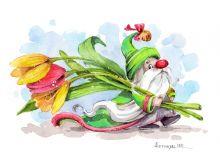 Гном с тюльпанами