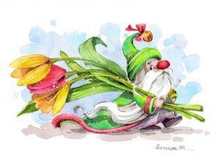 Почтовая открытка Гном с тюльпанами