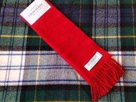 шарф теплый шотландский 100% шерсть ягнёнка ,расцветка Алый SCARLET BRUSHWOOL  SCARF