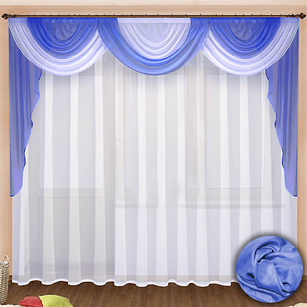 Комплект штор № 021, ламбрекен 140*960 + тюль 270*500 голубой