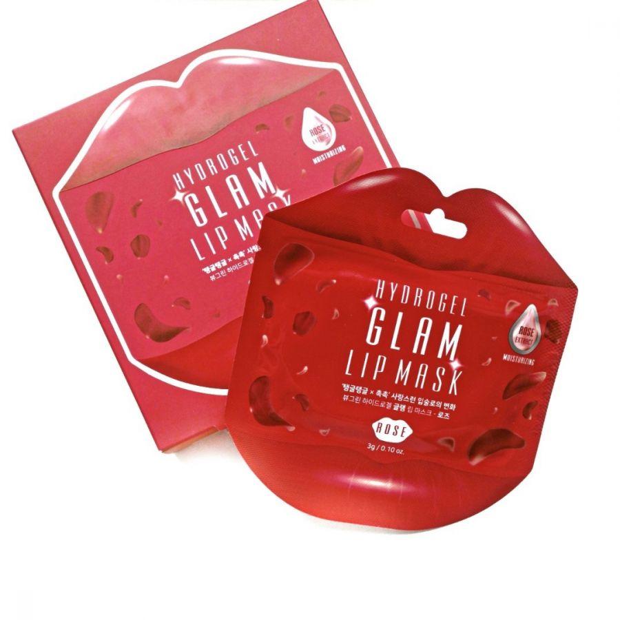 Гидрогелевые патчи для губ с экстрактом розы Beauugrean hydrogel glam lip patch rose, 3 гр