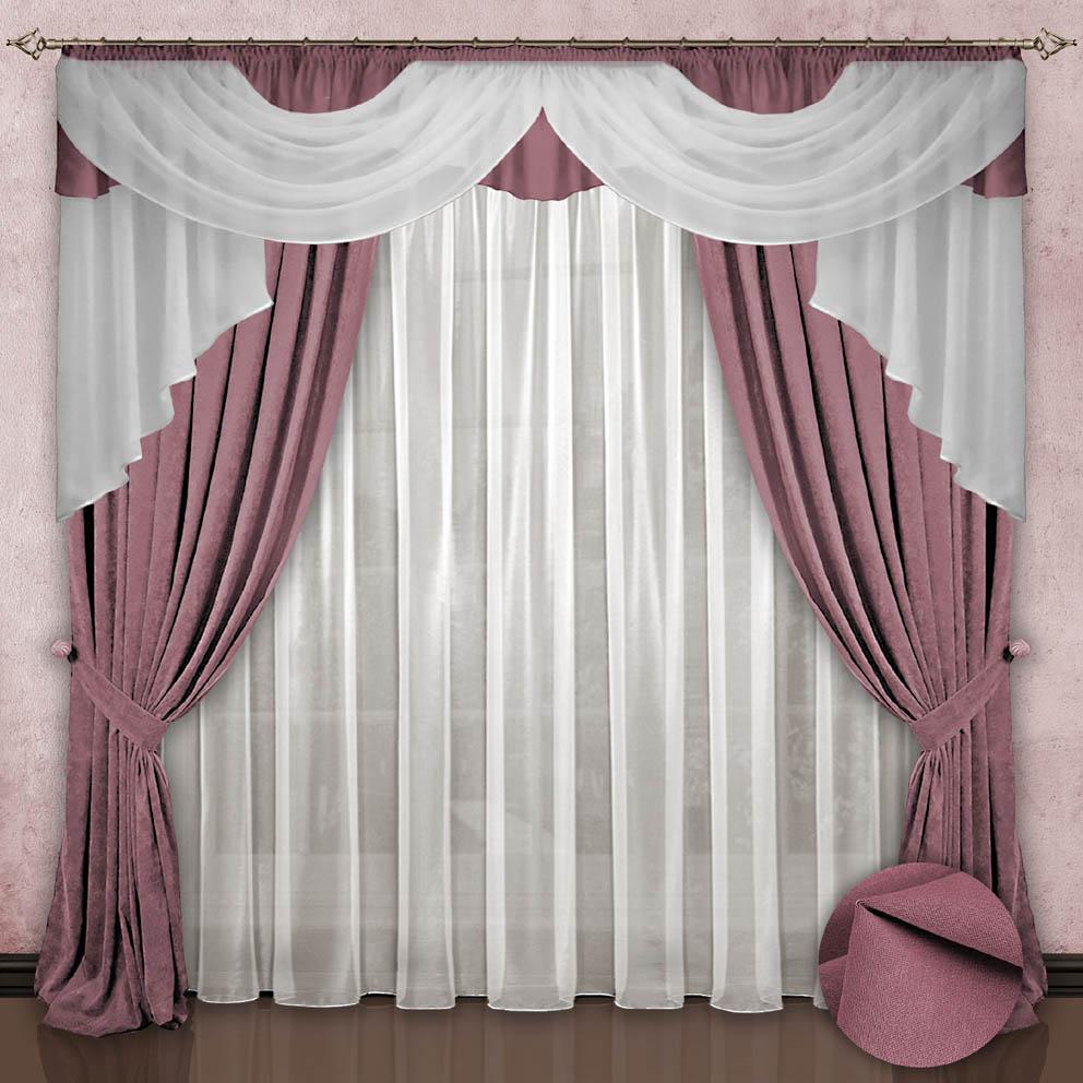 Комплект штор № 033, 260*500,(260*150)*2,(140*700), розовый (приглушенный)