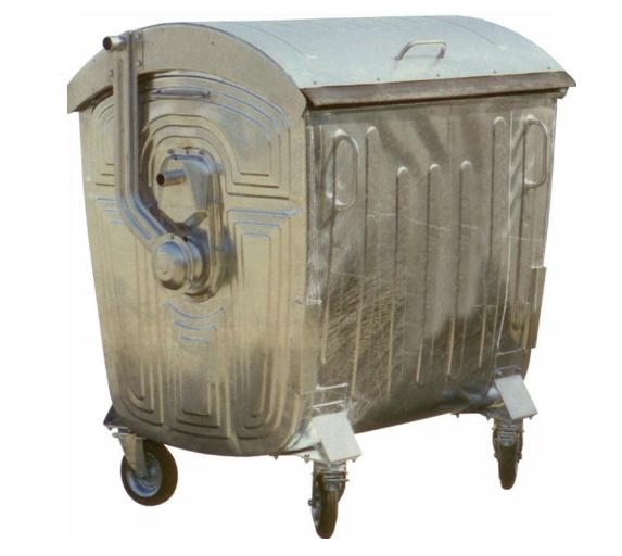 Мусорный контейнер на колёсах 1100 литров оцинкованный