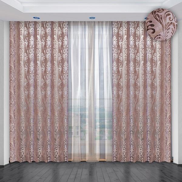 Комплект штор № 036, (270*200)х2(270*400) розово-сиреневый (органза жаккард + вуаль)