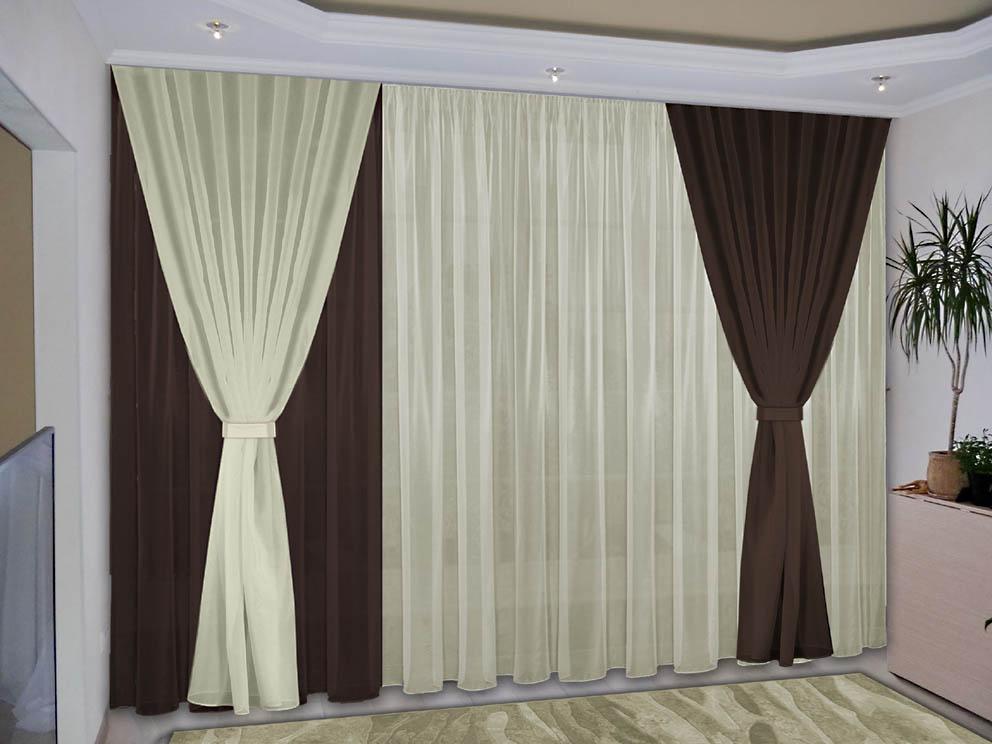 Комплект штор № 038, (270*200)х3(270*300) т.коричневый-жемчужный(вуаль)