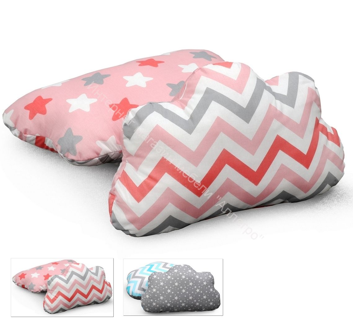 Подушка ОБЛАКО для кроватей Соня (небесный, коралловый)  СТАНДАРТ