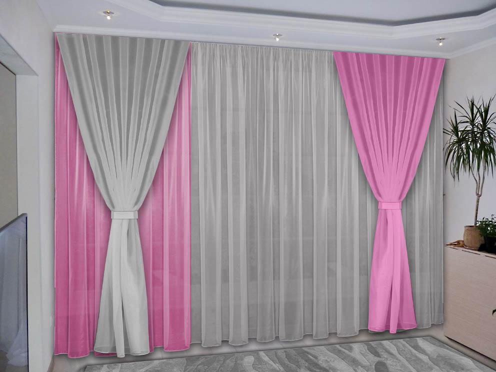 Комплект штор № 038, (270*200)х3(270*300) розовый-серый(вуаль)