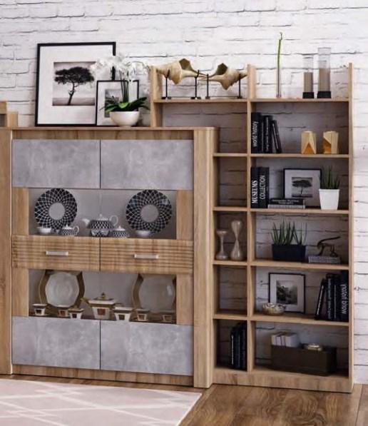 Шкаф для посуды Терра Дуб сонома/бетон темный