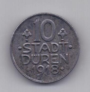 10 пфеннигов 1918 года AUNC Дюрен SD Германия