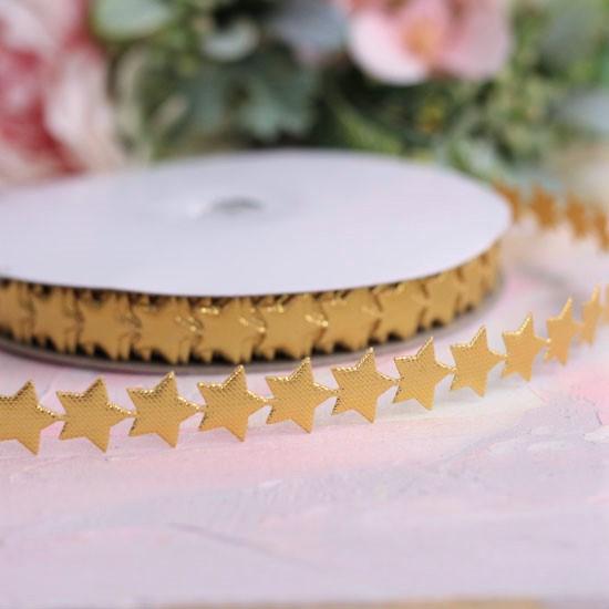 Лента декоративная - Золотые звездочки 1,2 см