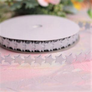 Лента декоративная - Серебряные звездочки 1,2 см