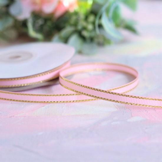 Репсовая лента декоративная - Нежно-розовая с золотым кантом 6 мм