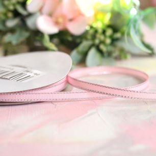Репсовая лента декоративная - Нежно-розовая с серебряным кантом 6 мм