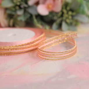 Репсовая лента декоративная - Нежно-розовая с золотом 10 мм