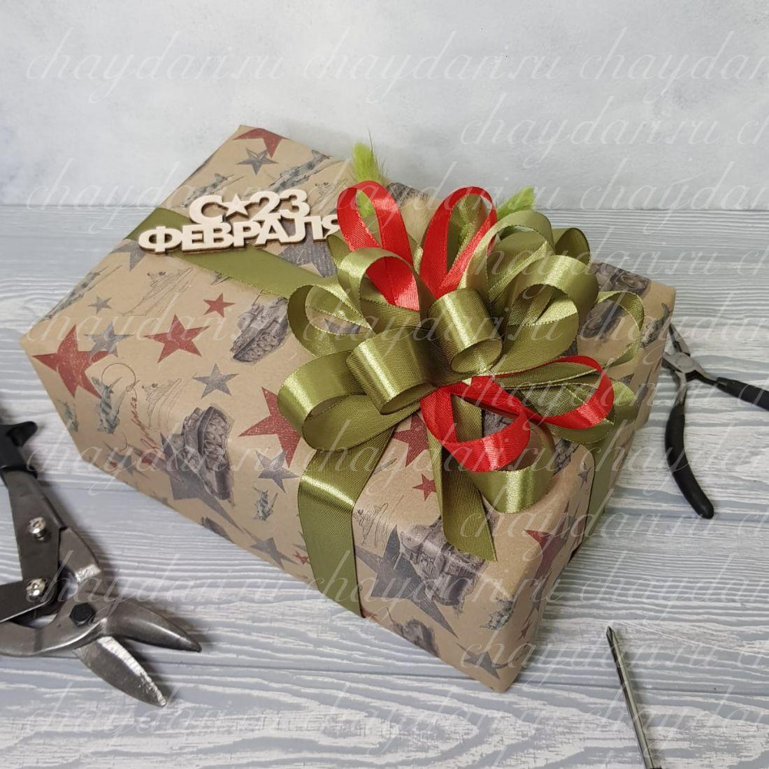 """Коробка с кофе, медом и сладостями """"Мужской праздник"""""""