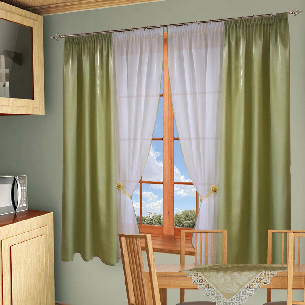 Комплект штор № 054, (170х190)х2 зеленый + подхваты магниты (2 шт)