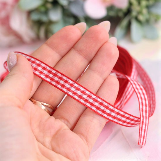 Лента декоративная - Красно-белая клетка 10 мм