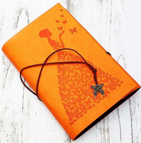 Блокнот Девушка с бабочками (16*23 см., оранжевый)