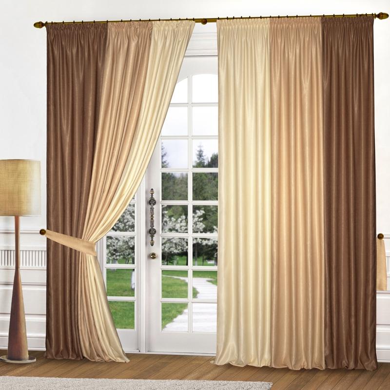 Комплект штор № 039, (270*180)х2 крем/песочный/коричневый (софт)