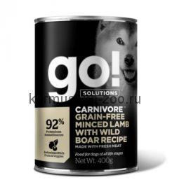 Go! консервы беззерновые с рубленым мясом ягненка и дикого кабана для собак